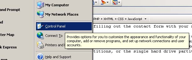Control Panel icon in XP