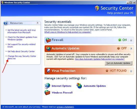changing the security alert settings